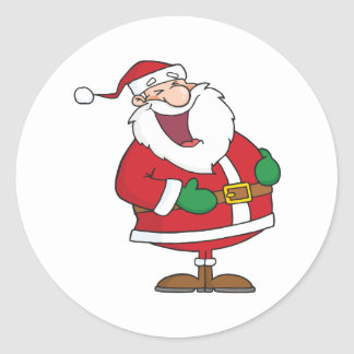 Dibujo animado que ríe a Papá Noel Pegatina Redonda