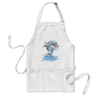 Dibujo animado que salpica el delfín delantal