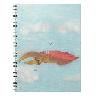 dibujo animado que vuela el cuaderno estupendo de