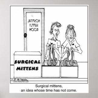 Dibujo animado quirúrgico del hospital de las mano posters
