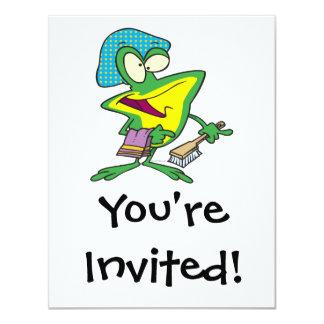 """dibujo animado rechoncho de la rana del froggy del invitación 4.25"""" x 5.5"""""""