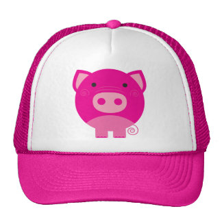 Dibujo animado redondo lindo del cerdo gorra