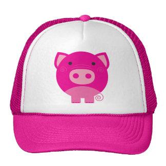 Dibujo animado redondo lindo del cerdo gorras
