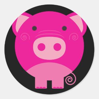 Dibujo animado redondo lindo del cerdo etiqueta redonda