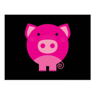 Dibujo animado redondo lindo del cerdo postal