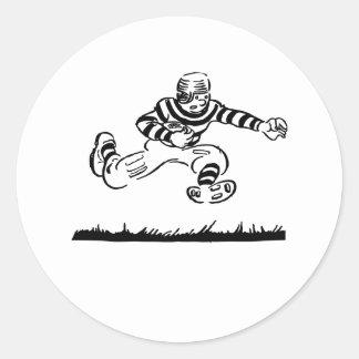 Dibujo animado retro del fútbol etiqueta redonda