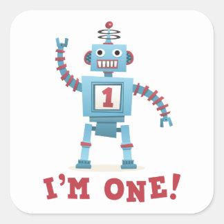 Dibujo animado retro lindo del robot soy un bebé colcomanias cuadradases