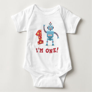 Dibujo animado retro lindo del robot soy un bebé polera