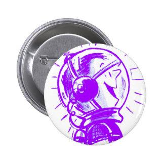 Dibujo animado retro Sci Fi 'Spaceman feliz del vi Pin Redondo De 2 Pulgadas