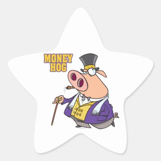 dibujo animado rico divertido del cerdo del cerdo pegatina forma de estrella personalizadas