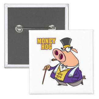dibujo animado rico divertido del cerdo del cerdo  pin