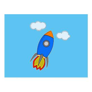 Dibujo animado Rocket en cielo azul Tarjetas Postales