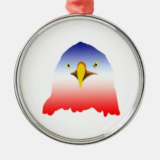 dibujo animado rojo blanco azul del águila adorno redondo plateado