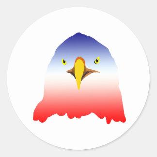 dibujo animado rojo blanco azul del águila pegatina redonda