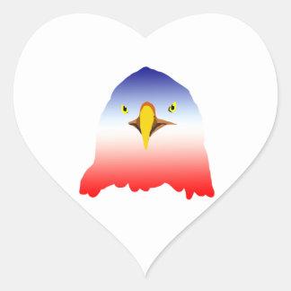 dibujo animado rojo blanco azul del águila pegatina en forma de corazón