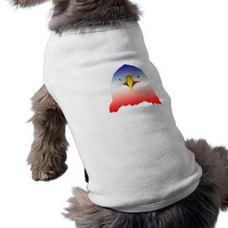 dibujo animado rojo blanco azul del águila playera sin mangas para perro