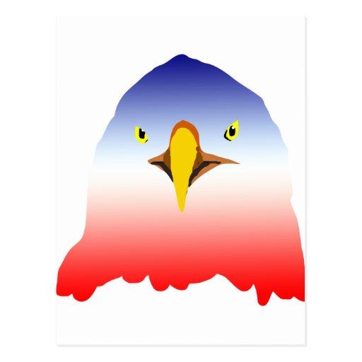 dibujo animado rojo blanco azul del águila postal