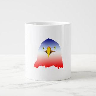 dibujo animado rojo blanco azul del águila taza grande