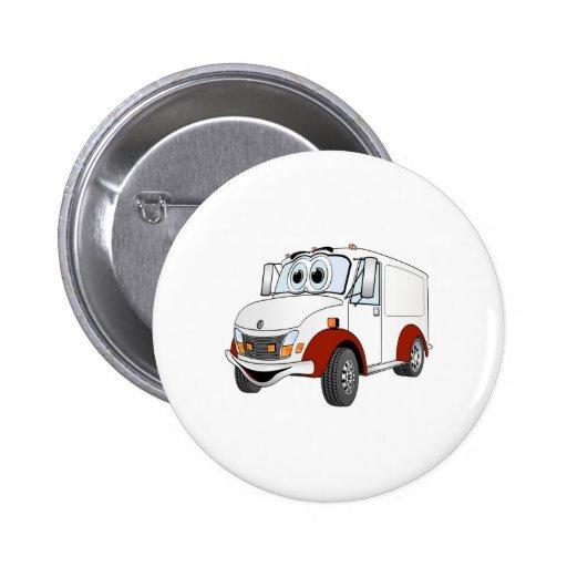 Dibujo animado rojo blanco de Van de entrega Pin Redondo 5 Cm