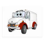 Dibujo animado rojo blanco de Van de entrega Tarjeta Postal