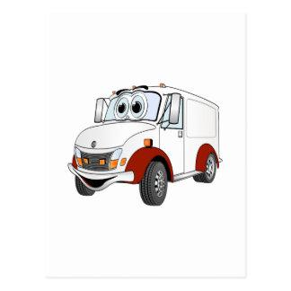 Dibujo animado rojo blanco de Van de entrega Tarjetas Postales