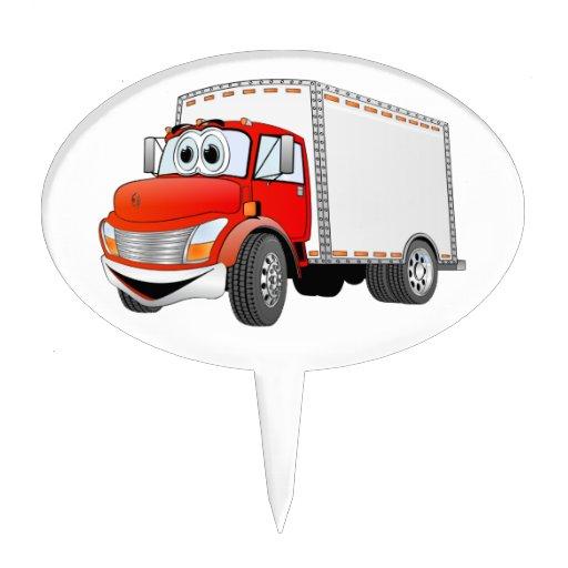 Dibujo animado rojo de la caja blanca del camión d decoración para tarta
