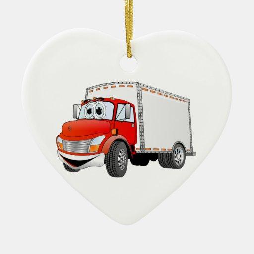 Dibujo animado rojo de la caja blanca del camión d adorno para reyes