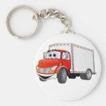 Dibujo animado rojo de la caja blanca del camión d llavero personalizado