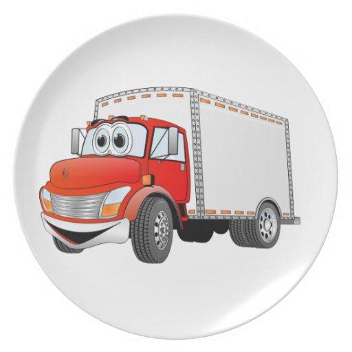 Dibujo animado rojo de la caja blanca del camión d plato de comida