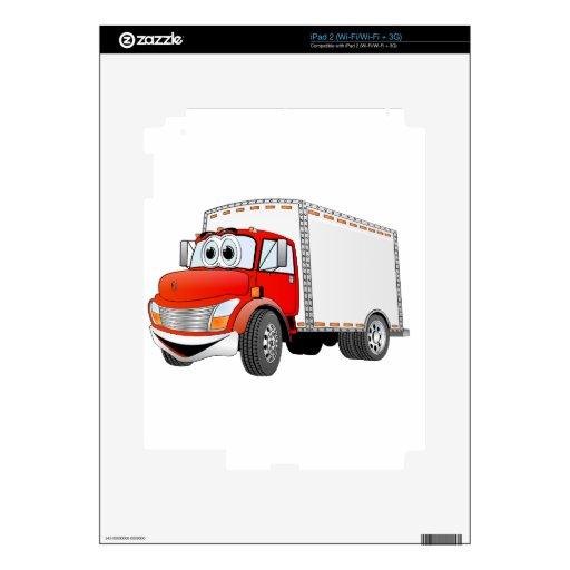 Dibujo animado rojo de la caja blanca del camión d skins para eliPad 2
