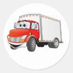 Dibujo animado rojo de la caja blanca del camión pegatina redonda