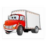 Dibujo animado rojo de la caja blanca del camión postal