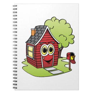 Dibujo animado rojo de la casa note book
