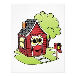 Dibujo animado rojo de la casa membretes personalizados