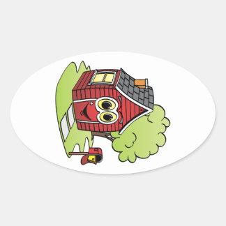 Dibujo animado rojo de la casa pegatina ovalada