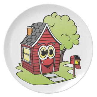 Dibujo animado rojo de la casa plato de cena