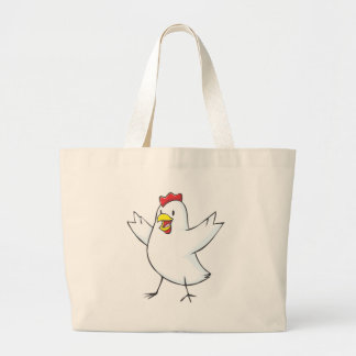 Dibujo animado rojo de la gallina bolsa lienzo