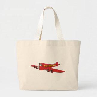 Dibujo animado rojo del avión de pasajeros bolsas