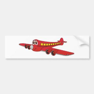 Dibujo animado rojo del avión de pasajeros pegatina de parachoque