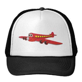 Dibujo animado rojo del avión de pasajeros gorras