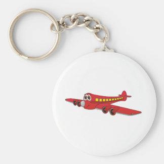 Dibujo animado rojo del avión de pasajeros llaveros personalizados