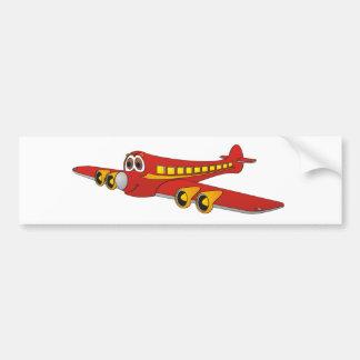 Dibujo animado rojo del avión de pasajeros O Pegatina De Parachoque