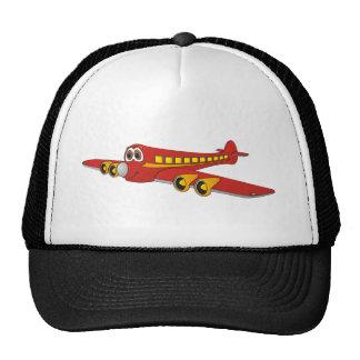 Dibujo animado rojo del avión de pasajeros O Gorros Bordados