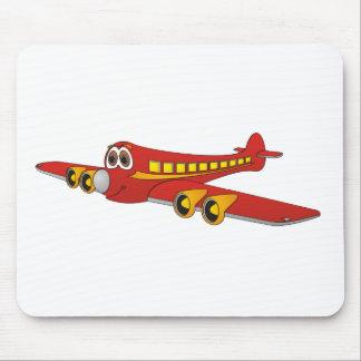 Dibujo animado rojo del avión de pasajeros O Tapete De Raton
