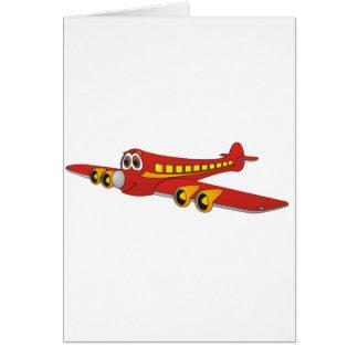 Dibujo animado rojo del avión de pasajeros O Felicitacion