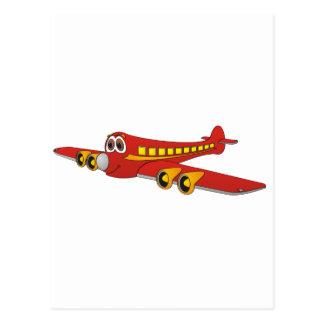 Dibujo animado rojo del avión de pasajeros O Postales