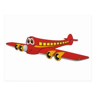Dibujo animado rojo del avión de pasajeros O Tarjetas Postales
