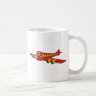 Dibujo animado rojo del avión de pasajeros O Taza