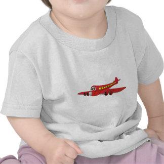 Dibujo animado rojo del avión de pasajeros camiseta