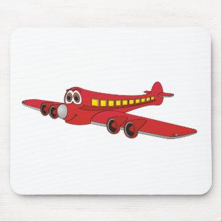 Dibujo animado rojo del avión de pasajeros alfombrilla de ratón